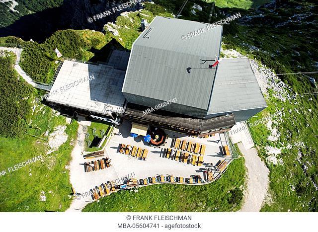 Alpspitz railway, Osterfelder, top terminal, mountain restaurant, Garmisch-Partenkirchen, aerial picture, Germany, Bavaria, Upper Bavaria, Bavarian alps