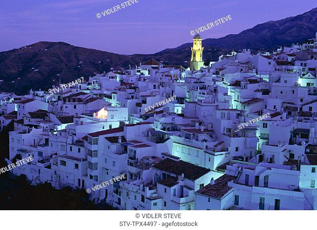 Andalusia, Blancos, Competa, Holiday, Landmark, Night, Pueblos, Spain, Europe, Tourism, Travel, Vacation, View, Villages, White