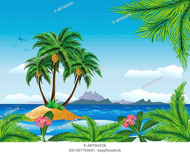 A tropical island with palm trees in the ocean