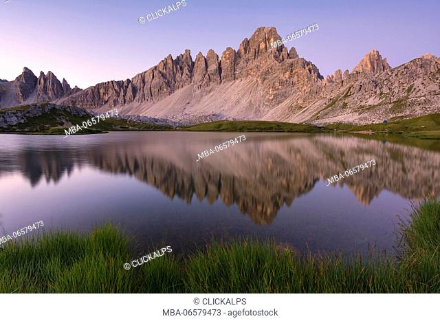 Mount Paterno reflection at dawn, Bolzano Province, Trentino Alto Adige, Italy