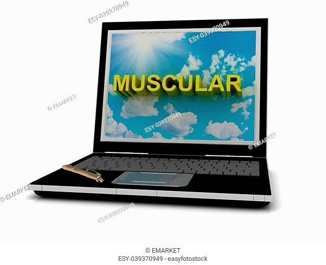 MUSCULAR sign on laptop screen of the yellow letters on a background of sky, sun and clouds