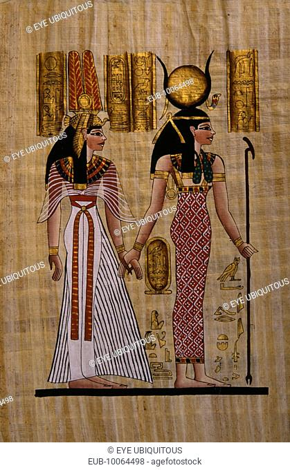 Papyrus painting with two figures Hathor on the right