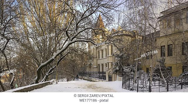Odessa, Ukraine - 01. 27. 2019. The Shahs Palace in Odessa city in a winter time. Famous tourist attraction built in the 19th century in the Neo-Gothic style