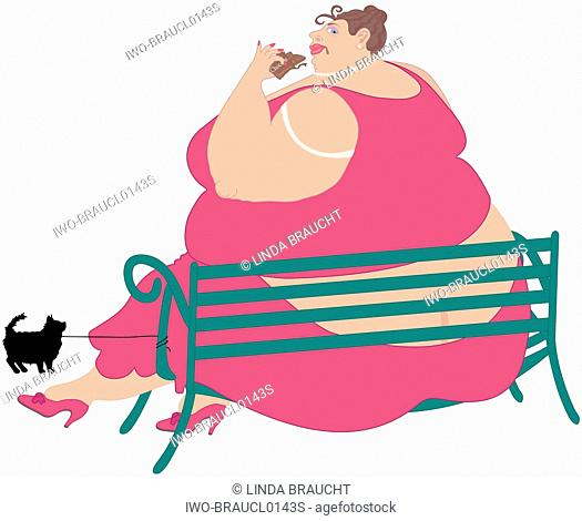 Obese Lady Sitting On Park Bench