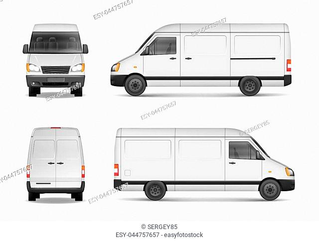 Isolated commercial delivery vehicle set. White van vector template for car branding and advertising. Mini bus from side, back, front View