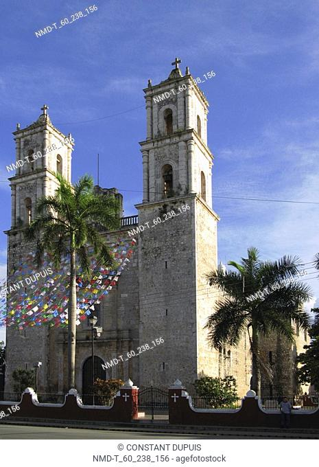 Low angle view of a cathedral, Santa Lucia Cathedral, Valladolid, Yucatan, Mexico