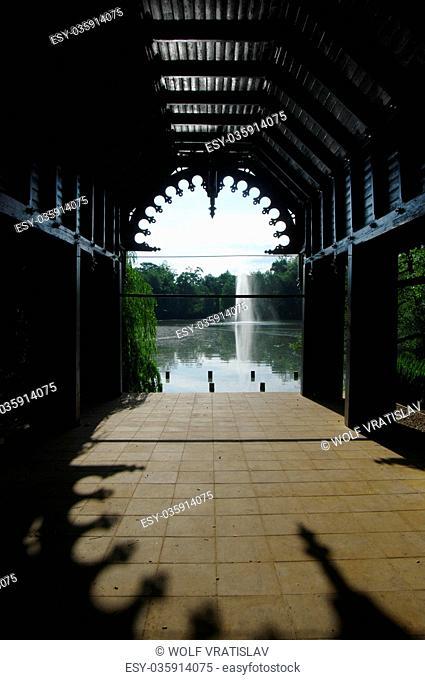 Swan Pavillion by Upper Pond in Teplice Chateau Garden, Usti nad Labem Region, Czech Republic