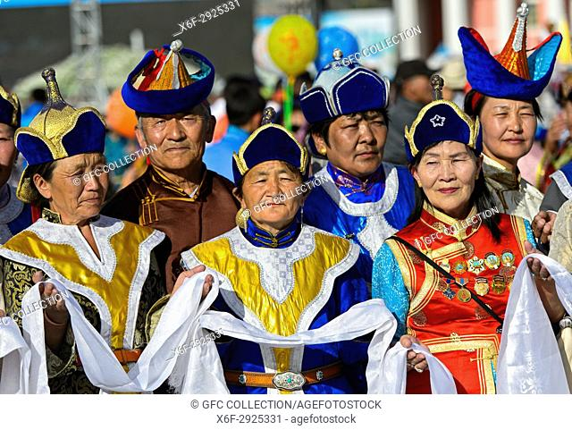 Women in traditional deel costume at a welcome ceremony, Mongolian National Costume Festival, Ulaanbaatar, Mongolia