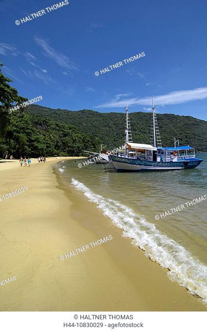 Brazil, South America, Ilha Grand, Las Palmas Cove, island, isle, bay, beach, seashore, sand beach, sea, coast, scener