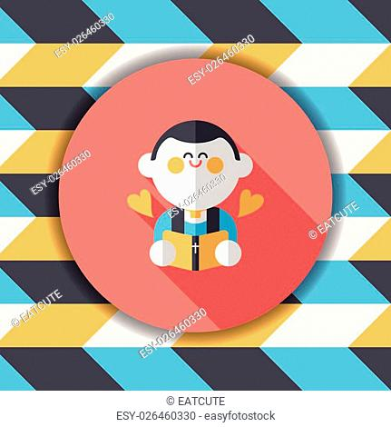 Wedding priest flat icon with long shadow,eps10, presiding over a wedding ceremony