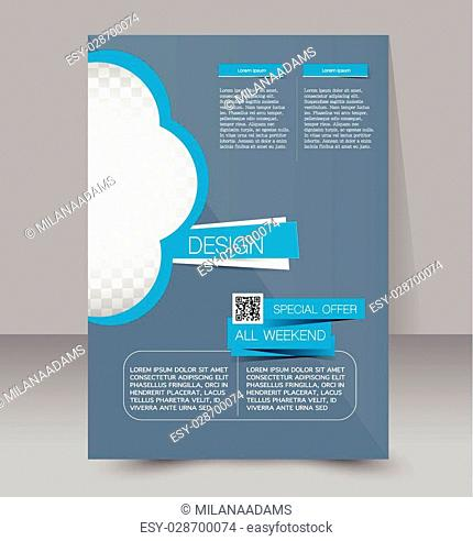 Flyer template. Business brochure. Editable A4 poster for design, education, presentation, website, magazine cover. Blue color