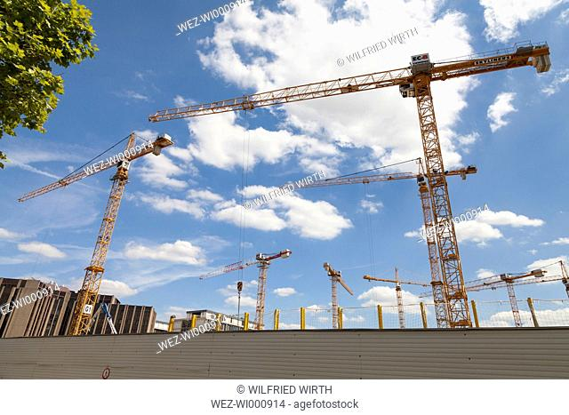 Luxembourg, Luxembourg City, European Quarter, cranes on construction site