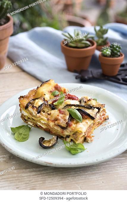 Lasagne alla parmigiana di melanzane (aubergine lasagne, Italy)