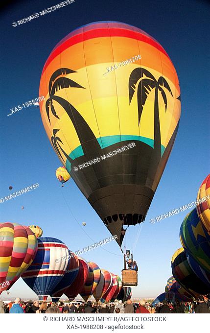 USA, New Mexico, Albuquerque, 2012 Balloon Fiesta, hot air balloon taking off