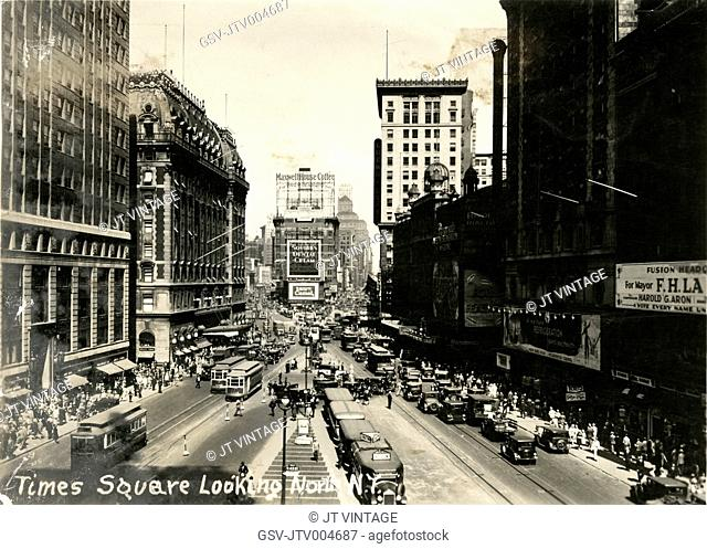 Times Square Looking North from 42nd Street, New York City, USA, circa 1933