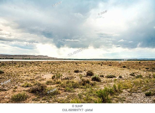 Dry flat landscape, Montana, US