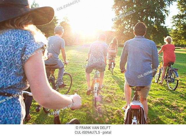 Rear view of party going adults arriving in park on bicycles at sunset