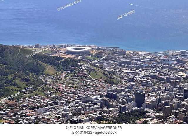 World Cup 2010, Green Point Stadium football stadium construction site, view from Table Mountain, Cape Town, South Africa, Africa
