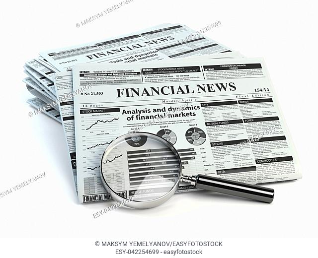 Financial news newspaper isolated on white background. 3d illustration