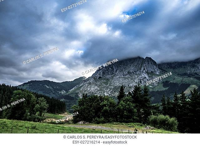 Landscape at Urkiola park in Basque Country Spain Europe