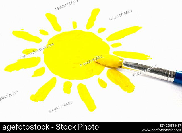 paintbrush and painted sun