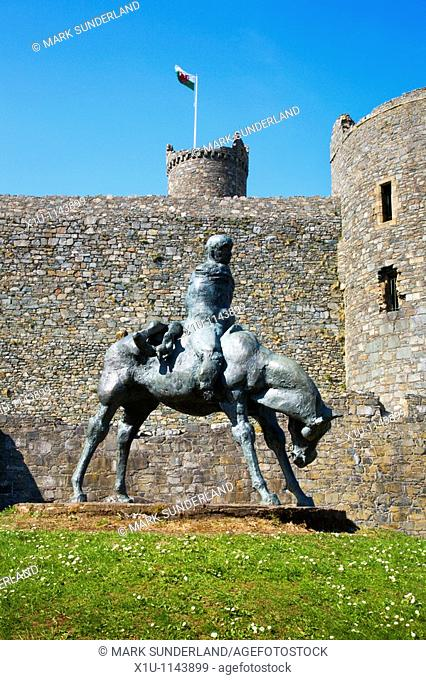 Two Kings Sculpture Harlech Castle Snowdonia Wales