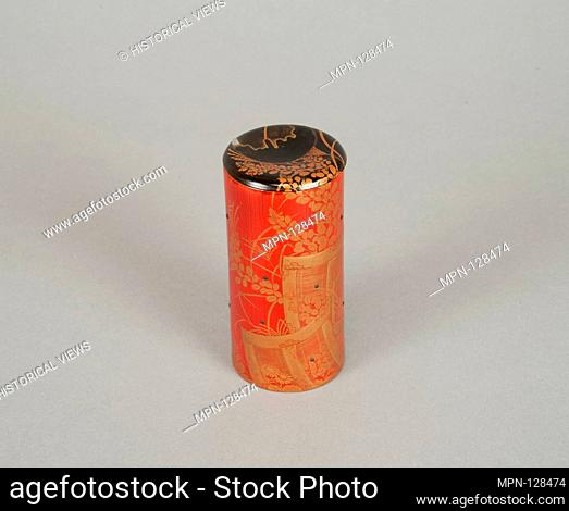 Cylindrical box. Period: Edo period (1615-1868); Date: 19th century; Culture: Japan; Medium: Red lacquer on bamboo with sprinkled gold powder; Dimensions: H