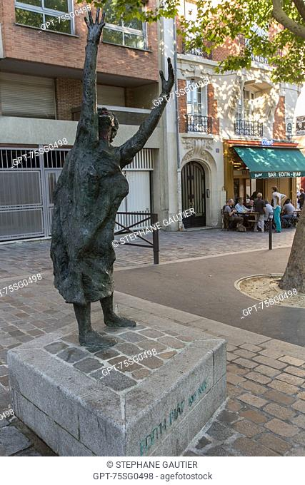 STATUE OF EDITH PIAF BY THE ARTIST LISBETH DELISLE SITUATED ON PLACE EDITH PIAF, INAUGURATED DURING THE COMMEMORATION OF THE 40TH ANNIVERSARY OF THE DEATH OF...