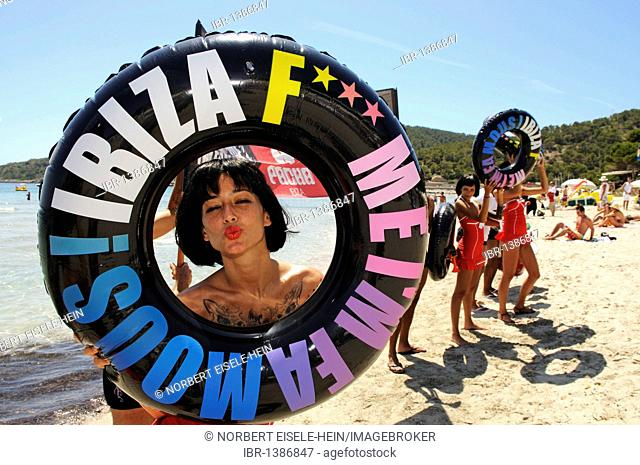Promoters for the Pacha discotheque, Cala de Ses Salines, Ibiza, Pine Islands, Balearic Islands, Spain, Europe