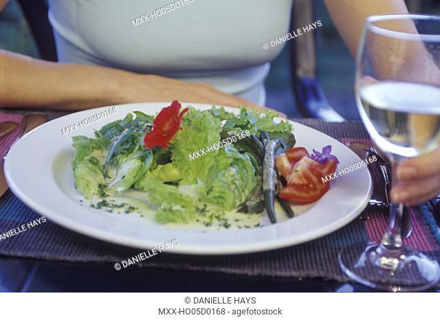 Organic green salad on plate