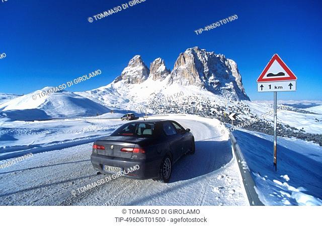 Italy, Trentino Alto Adige, Dolomites, Passo Sella, Sasso Lungo