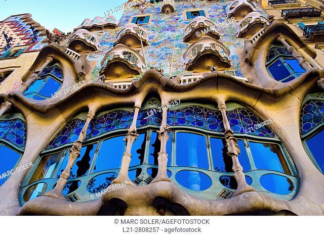 Casa Batllo by architect Antoni Gaudi. Barcelona, Catalonia, Spain