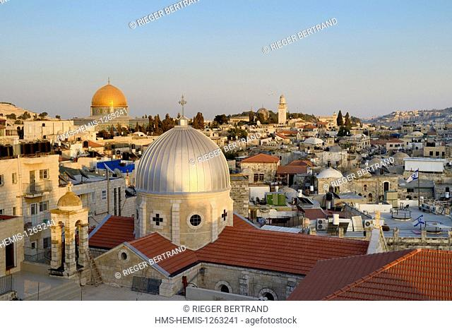 Israel, Jerusalem, holy city, the old town listed as World Heritage by UNESCO, the roofs of the Muslim District, the church of Our Lady of the Spasm and the...