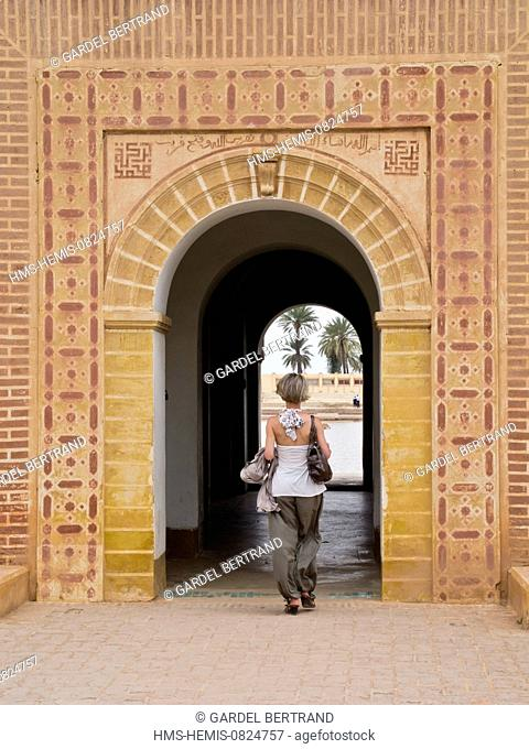 Morocco, Upper Atlas, Marrakech, imperial city, the Menara listed World Heritage by UNESCO, the Saadian pavilion entrance