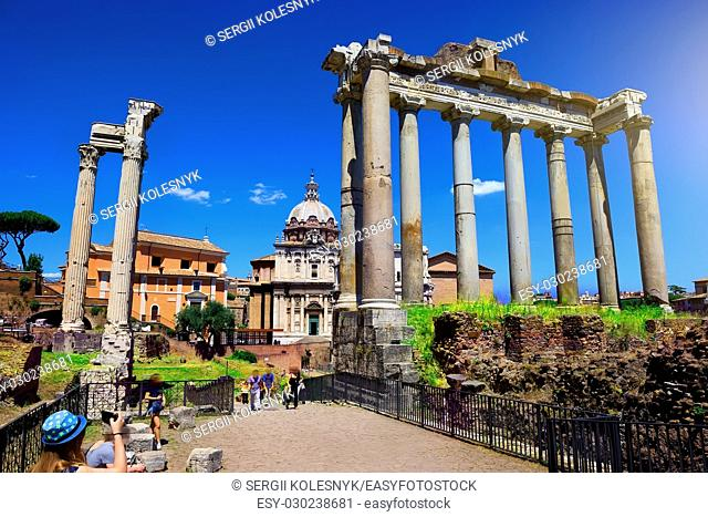 Ruins of Roman Forum at summer day, Italy