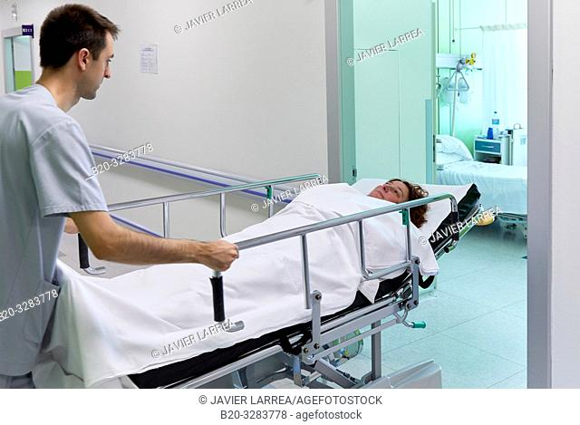 Keeper carrying a patient on a stretcher, Hospitalization Plant, Hospital Donostia, San Sebastian, Gipuzkoa, Basque Country, Spain