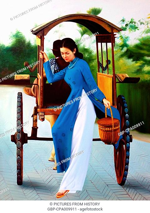 Vietnam: Modern commercial painting of a young woman in an ao dai dress descending from a covered pony cart, copied from a 1950s photograph, for sale in Saigon