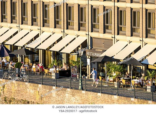 Netherlands, Limburg, Maastricht. Restaurants terraces outdoor tables, Wyck-Ceramique quarter