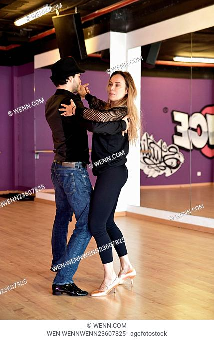 "German actress Sonja Kirchberger rehearsing with professional dancer Ilia Russo for RTL TV show ""Let's Dance"" at Top Dance Studio"