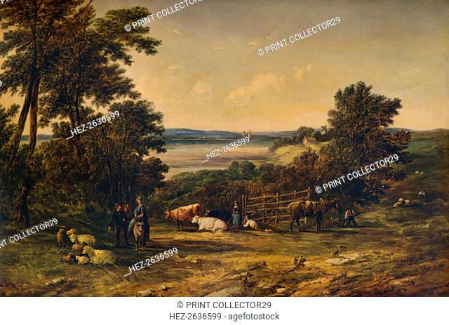 'A Harbour surrounded by Wooded Hills and Meadows with Cattle', 1859, (1938). Artist: Alfred Vickers