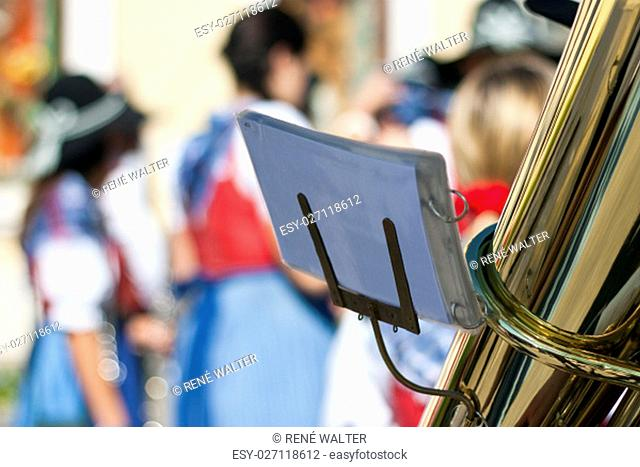 Tuba with notes in traditional marching band
