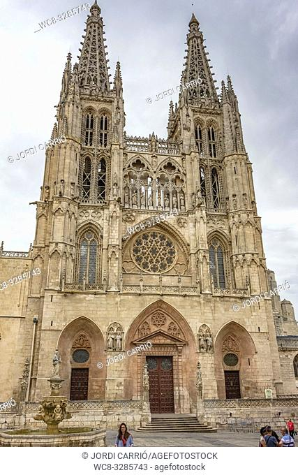 Burgos, Spain: View of the facade of the Puerta Real or the Puerta del Perdon of the Cathedral of Burgos