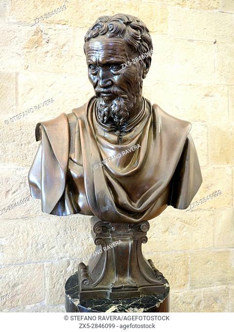 Bust of Michelangelo by Daniele Da Volterra (1509-1566). bronze. Museo Nazionale del Bargello - Firenze, Italy