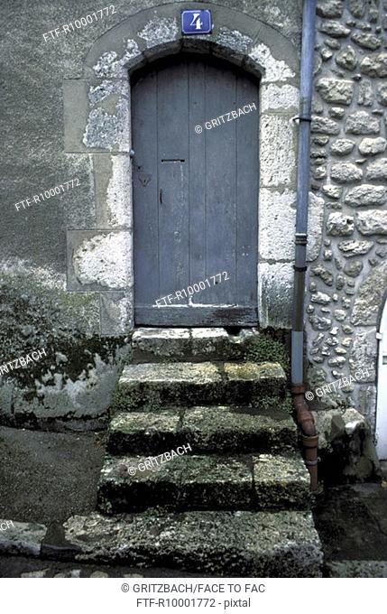 Wooden door in an old building