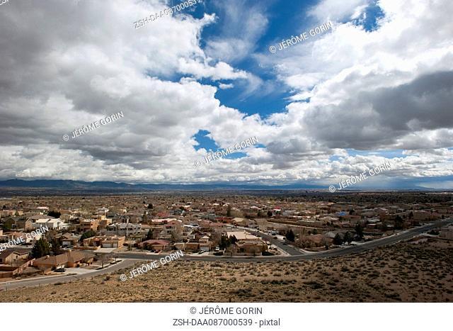 Suburban homes in the desert near Albuquerque, New Mexico, USA