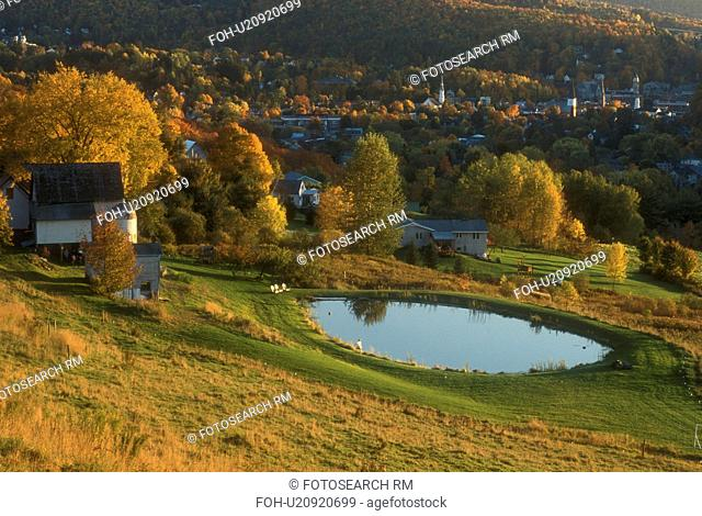fall, Montpelier, VT, Vermont, View of the city of Montpelier and the scenic countryside in the autumn