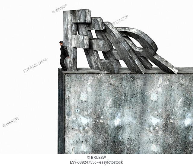 Businessman stopping domino of red fear word falling on top of concrete wall, isolated on white. Domino effect and problem solving of concepts