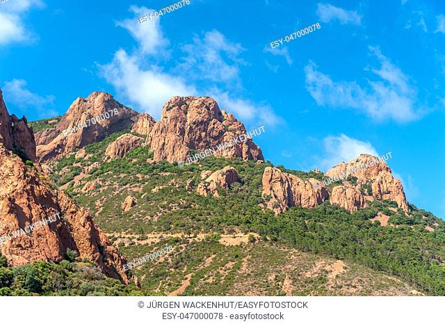 Mountains of the Massif de'l Esterel, Antheor, Var, Provence-Alpes-Cote d`Azur, France, Europe
