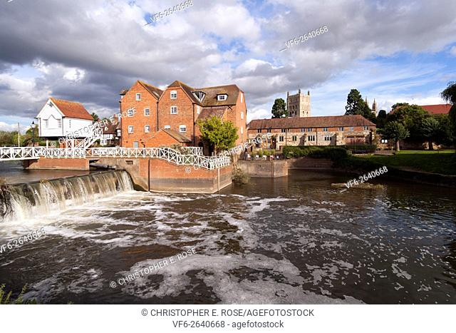 Abbey Mill and weir in the town of Tewkesbury, Gloucestershire, Severn Vale, UK