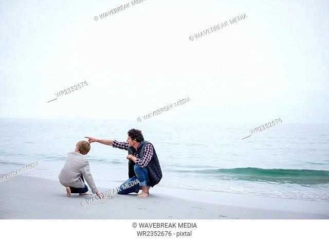 Father pointing while kneeling with son at sea shore